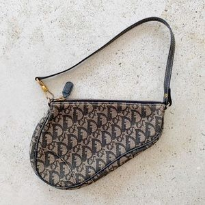 VINTAGE CHRISTIAN DIOR Monogram Trotter Saddle Bag